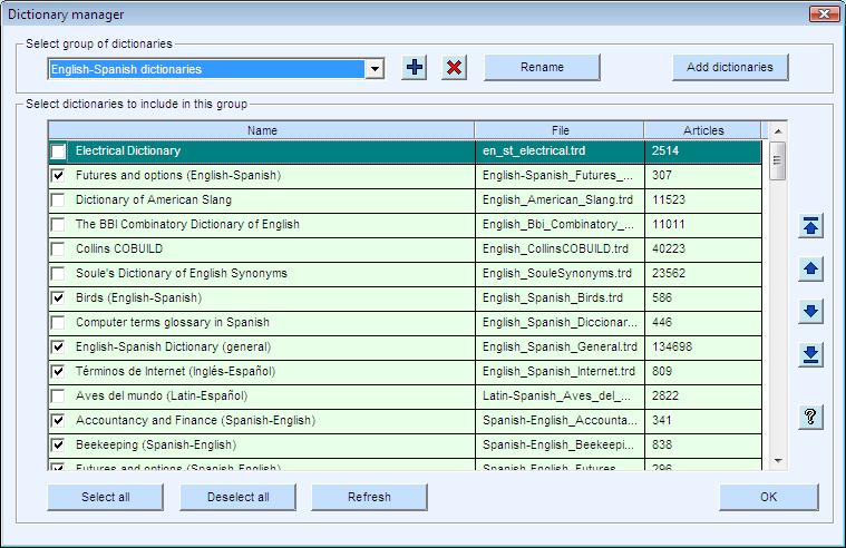 TR Assistant dictionary lookup program. Dictionary manager window.