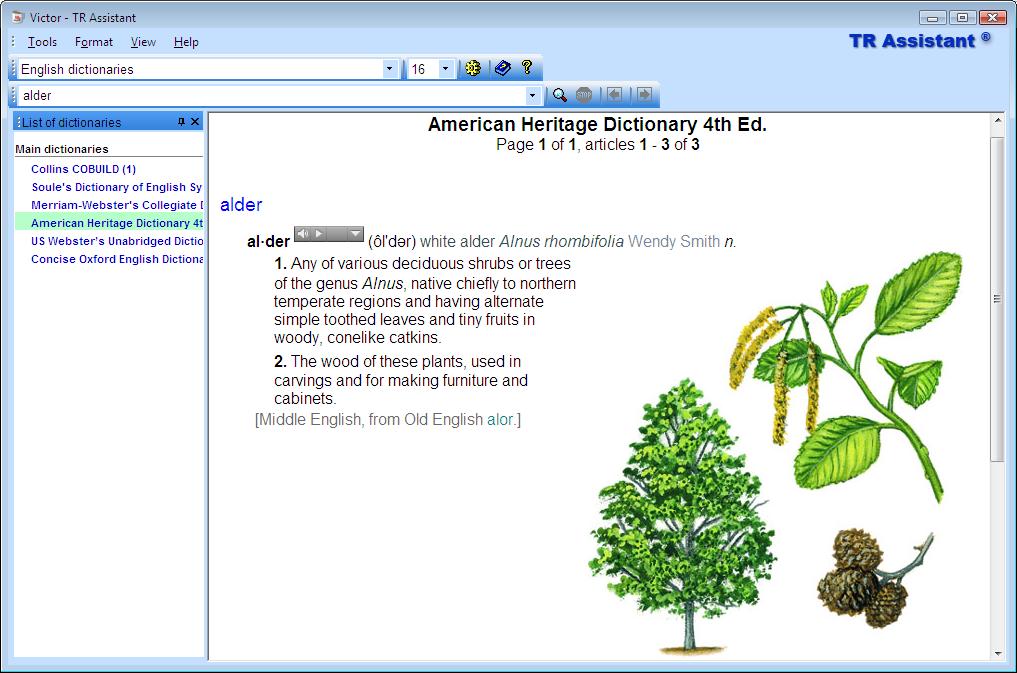 TR Assistant dictionary lookup program. Encyclopedia search results.